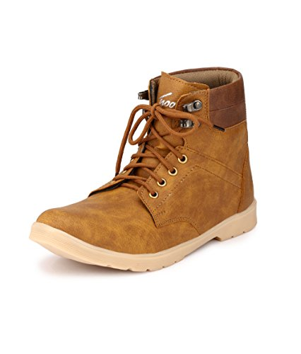 Knoos Men's Tan Synthetic Leather Trak Outdoor Casual Boots (NJ-01, Size: 10 UK/IND)-NJ-01-TAN-10