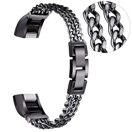 Für Fitbit Alta und Fitbit Alta HR-Armband Klein,Moeavan Edelstahl-Ersatzarmband Verstellbare Riemen für Fitbit Alta/Fitbit Alta HR Fitness-Armband (Schwarz, 5,3-8,1 Zoll)