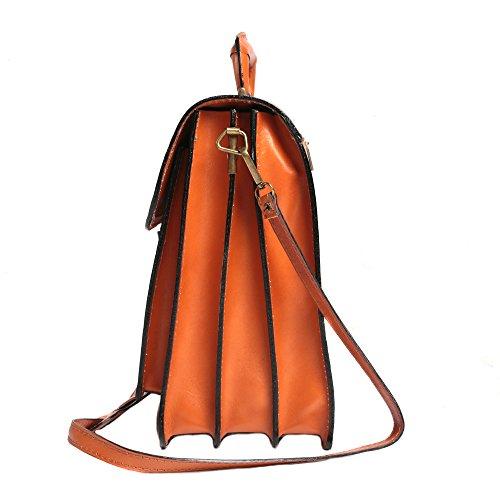 Portadocumenti in pelle italiana, Cartella Ventiquattrore Borsa da Lavoro Uomo Donna Made in Italy 39x30x18 Cm Cuoio