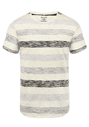 Blend Efkin Herren T-Shirt Kurzarm Shirt Mit Streifen Und Rundhalsausschnitt, Größe:M, Farbe:Steepl Grey (75121) -