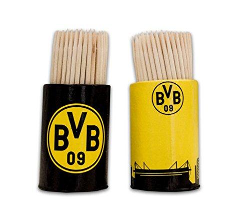 Borussia Dortmund BVB Zahnstocher Set, Holz, Schwarz/Gelb, 6 x 6 x 5 cm, 200-Einheiten -