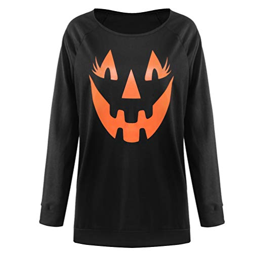 Reciy Costumi da Donna Pullover Felpe Zucca di Halloween Sexy off The Shoulder Plus Size M Nero
