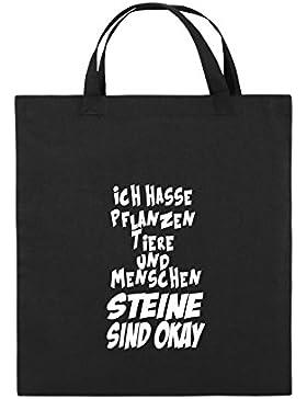 Comedy Bags - ICH HASSE PFLANZEN TIERE - Jutebeutel bedruckt, Baumwolltasche zwei kurze Henkel aus 100 % Baumwolle...