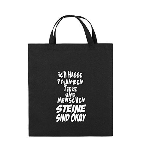 Comedy Bags - ICH HASSE PFLANZEN TIERE - Jutebeutel - kurze Henkel - 38x42cm - Farbe: Schwarz / Silber Schwarz / Weiss