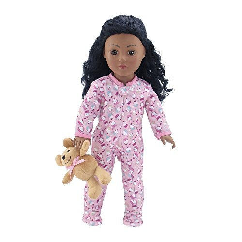 18 Inch Doll Clothes |Adorable Footed Pink Cupcake Print Pajama Outfit Onesie with Teddy Bear | Fits American Girl Dolls