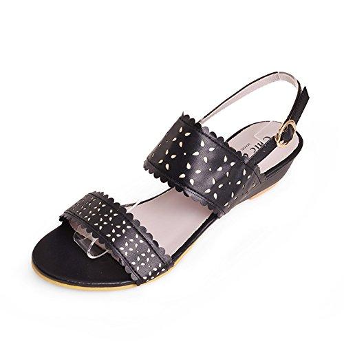 Estate moda sandali/Dolce forato inciso banda zeppe scarpe da donna-A Lunghezza piede=23.8CM(9.4Inch)