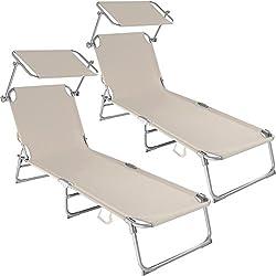 tectake Chaise Longue Pliante Bain de Soleil avec Parasol Pare Soleil - diverses Couleurs et quantités au Choix - (2X Beige   No. 400691)