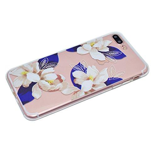 iPhone 7 Plus Coque, Voguecase TPU avec Absorption de Choc, Etui Silicone Souple Transparent, Légère / Ajustement Parfait Coque Shell Housse Cover pour Apple iPhone 7 Plus 5.5 (motif de couleur)+ Grat Gardénia 01