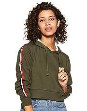 WOKNIT Full Sleeve Solid Women's Hooded Crop Olive Sweatshir