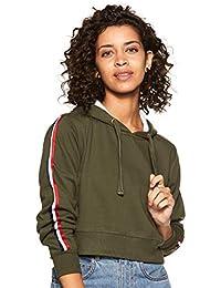 WOKNIT Full Sleeve Solid Women's Hooded Crop Olive Sweatshirt