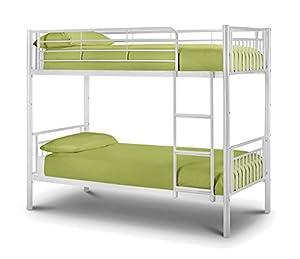 Happy Beds Atlas Bunk Bed Metal Gloss White Kids 2x Memory Foam Mattress 3' Single 90 x 190 cm