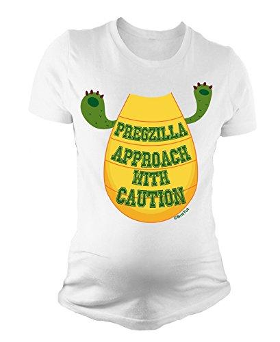 T-shirt de maternité pour dames Pregzilla Approach With Caution Funny bébé cadeau de grossesse By BritTot Blanc