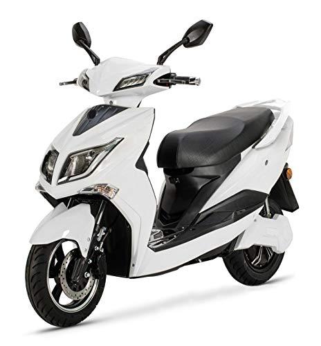 "Elektroroller \""HAWK 3000 LI\"" 3000 Watt Elektroroller 45 km/h 2 Lithium Akkus E-Roller E-Scooter mit Straßenzulassung Elektro Roller Scooter Testsieger kaufen Elektromobil, Weiß"