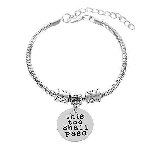 Imagen de pulseras para mujeres y niñas, diseño inspirador con texto en inglés «this too shall pass»
