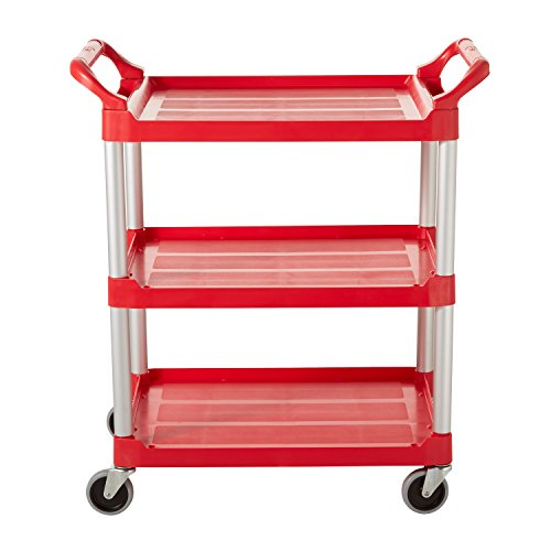 Rubbermaid Commercial Plastic 3 Shelf Service Cart - Red