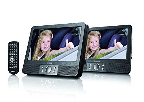 Lenco DVD-Player Tragbar MES-404, 2 x 9 Zoll, Fernbedienung, 2X Kopfstützenbefestigung, 12V Fahrzeugadapter, Schwarz
