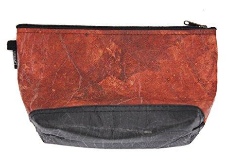 ECOMONKEY® ♻ Kulturtasche / Kulturbeutel + veganes Leder aus Blättern (Kunstleder) + leicht & wasserabweisend + Rot