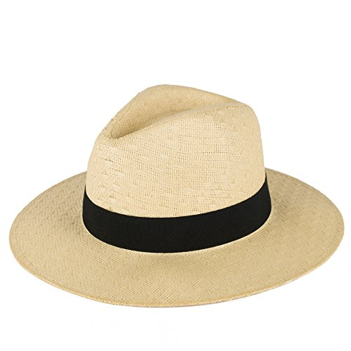 Men's Ladies Fedora Hat Plain Woven With Black Grosgrain Band - Natural Straw (60/XL) (Justin-herren-natural)