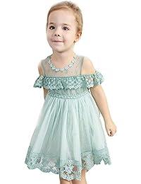 Vestido de Tirantes con Encaje para Niñas K-Youth Niños Recién Nacido Ropa Bebe Niña para 1-5 años Tutu Vestidos de Princesa con Plisado Niñas Vestido de Fiesta Chica