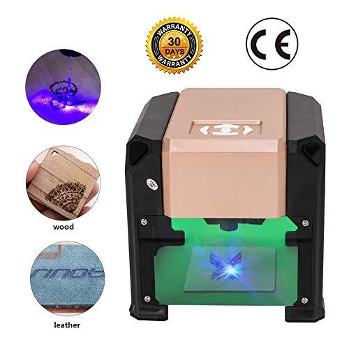 Laser Graviermaschine Lasergravierer Drucker, Mit CE-Zertifizierung- 3000 mw Mini Desktop Laserengraver Maschine DIY Logo 7.5x7.5CM