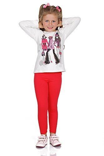 Cotton Slim-leggings (futuro fashion dick warm Kinder Baumwollleggings Mädchen Hose einfarbig volle Länge Kinder Hosen alter 2 3 4 5 6 7 8 9 10 11 12 13 - Rot, 134)