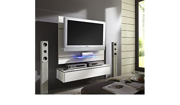 Tv möbel wandsysteme  TV Wand Wandpaneel TV-Halterung mit Lowboard weiss Hochglanz ...