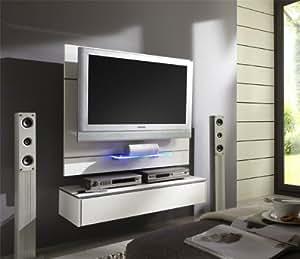 tv wand wandpaneel tv halterung mit lowboard weiss hochglanz k che haushalt. Black Bedroom Furniture Sets. Home Design Ideas