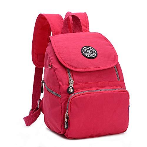 Sommerfrauen kleine Tasche wasserdicht Nylon-Serie Tasche Multifunktions-Rucksack Rose rot -