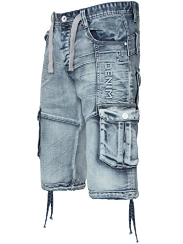 ETO Da Uomo, Elegante Stile Militare Denim Lavaggio Acido Pantaloncini Estivi 28-48 Lavaggio Acido