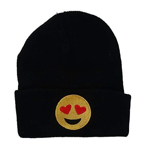 CTM Juniors' Solid Beanie Mütze mit Emoji-Gesicht - Schwarz - Einheitsgröße (Schlitten Mit Pom)