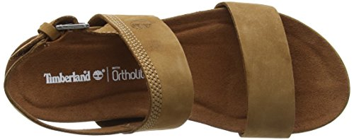 Timberland Damen Malibu Waves 2-Band Slide Pantoletten Braun (Saddle Naturebuck F13)