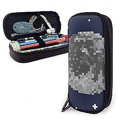 Pixel Art Mond und Sterne Leder Federmäppchen Tasche mit Reißverschluss Stift Box Schulmaterial für Studenten, große Kapazität Briefpapier Box Reise Make-up Tasche für Mädchen Jungen und Erwachsene