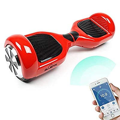 """Bluefin 6.5"""" Classic Swegway Board Self Balancing Scooter with Built-in Bluetooth Speakers and Carry Bag (Red with Kart)"""