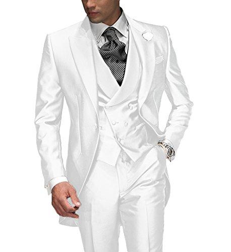 Suit Me Tailored Herren 3-Teilig Anzug Fuer Hochzeiten Party Smoking Anzug Sakko,Weste,Hose Weiss M (Weiss Anzug Herren)