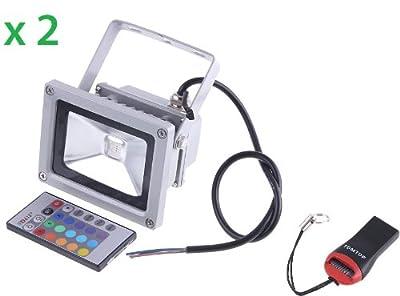 2 Der DODOCOOL 10W RGB LED farbiger Scheinwerfer Fluter, Flutlicht Wasserdichte Dekorative Lampe Außenstrahler Licht , Lebensdauer mehr als 60,000 Stunden von DODOCOOL auf Lampenhans.de
