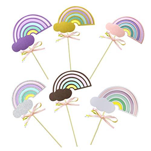 rs, 10 Stück Cupcake Toppers Rainbow Cloud Cupcake Picks Kuchen Dekorationen Topper Picks für Party (Farbe Sortiert) ()