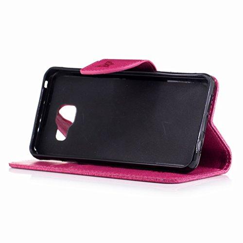 Yiizy Samsung Galaxy A3 (2016) / A310F / A310M Custodia Cover, Fiore Di Farfalla Design Sottile Flip Portafoglio PU Pelle Cuoio Copertura Shell Case Slot Schede Cavalletto Stile Libro Bumper Protettiv Red Rose
