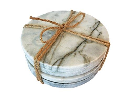 Runde Glas-marmor (Norsund 4er Set Untersetzer für Gläser aus Marmor und Kork rund, runde, Elegante Glasuntersetzer aus 8mm Marmor 10 cm Durchmesser)
