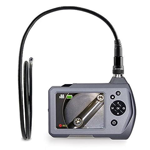 Endoscope,Teslong Handheld Industrial Borescope Inspection Camera with 3.5 Inch LCD Screen 5.5mm Diameter Flexible Probe Waterproof Camera(1M)
