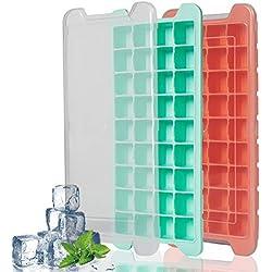 2 bacs à glaçons en silicone premium avec couvercle en forme de 36 Cubes chacun, sans BPA facile Release Moule Bac à Glaçons Boîtes de rangement empilable durable Fruits d'été Moule de glace par