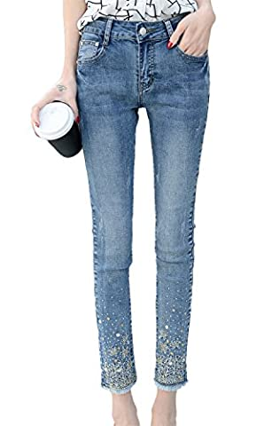 DQQ Women's Cotton Beaded Slim Fit Midrise Pencil Skinny Jeans UK 10 Blue