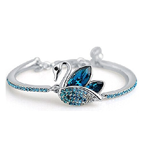 Tiaraz Fashion Blue Platinum Plated Austrian Crystal Kadaa Bangle Bracelet for Women & Girls