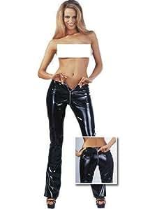 Lingerie Sexy Femme : Pantalon noir en vinyle Taille L