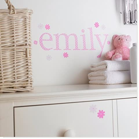 Personalised Name Wall Letter Stickers, Pink Polka I, 10-16 cm high. Each letter comes with two separate flower stickers. A-Z a-z &. Price is per