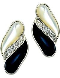 Rajola Oro Blanco 18K 0.28ct Diamante, Onyx y Mother of Perla Pendientes