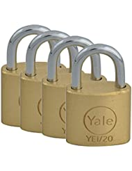 Yale Locks YALYE1204PK  20 mm Padlock - Brass (Pack of 4)
