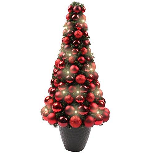 LED Weihnachtsbaum mit Weihnachtskugeln, künstlicher Tannenbaum in rot, beleuchteter Christbaum 80 cm