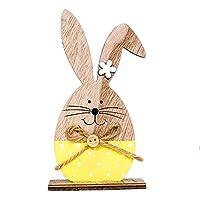 Specifiche: Con colori vivaci e design con motivo coniglietto, aggiungere più atmosfera del festival di Pasqua. Realizzato in legno naturale di alta qualità con fiocco in corda di canapa e bottoni. La scelta migliore per la decorazione di Pas...
