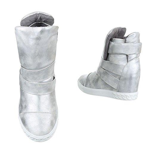 Keilstiefeletten Damenschuhe Keilabsatz/ Wedge Keilabsatz Ital-Design Stiefeletten Silber