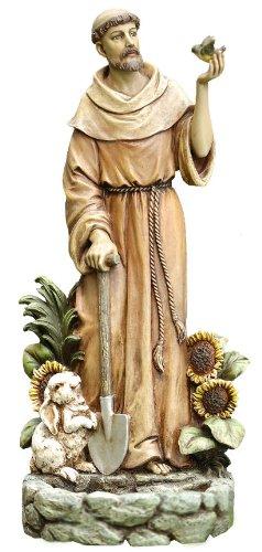 Napco St. Francis mit Vogel Statue und Vogelfutterstation, 12-1/2Zoll hoch